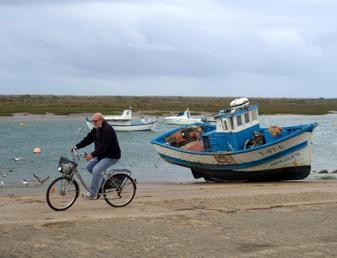 Cycling near the boats