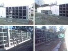 """<b>Empreitada:</b> """"Construção de Ossários – Zona K e Topo do Corpo G do Cemitério de Vale Flores""""<br><b>Duração:</b> 90 dias (2008/2009), 21 dias (2009) e 60 dias (2011) </br><b>Tipo de empreitada: </b> Edificação pré-fabricada e arranjos exteriores"""